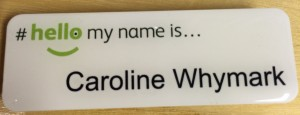 Caroline's name badge